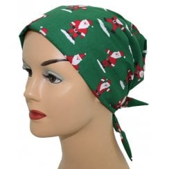 Christmas Santa on Green Head Tie Scarf