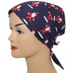 Christmas Santa on Navy Head Tie Scarf
