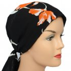 Coral and Cream Floral on Black Padded Chiffon Head Tie Scarf
