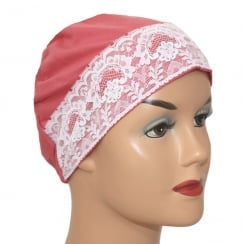 Coral Flair Lace Sleep Cap Lightweight 100% Cotton Jersey