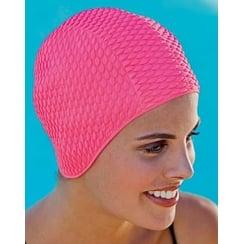 Coral Pink Bubble Crepe Non Pull Swim Cap