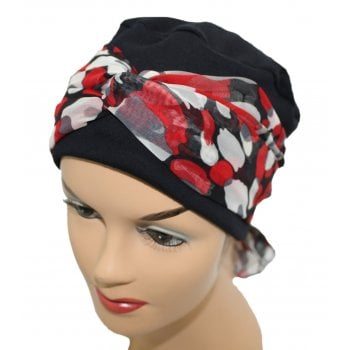 Cosy Hat Black With Red Pebbles Chiffon Scarf