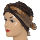 Cosy Hat Brown With Floral Orchid Brown Chiffon Scarf