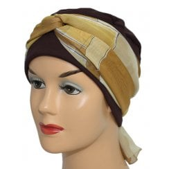 Cosy Hat Brown With Shades of Tan Chiffon Scarf