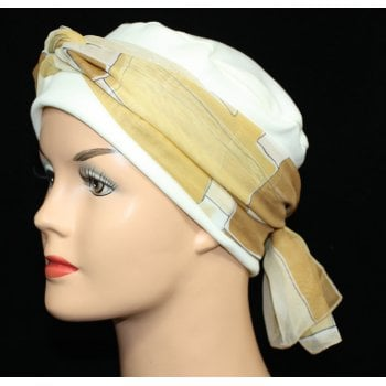 Cosy Hat Cream With Shades of Tan Chiffon Scarf