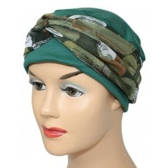 Cosy Hat Green With Shades Of Khaki Chiffon Scarf