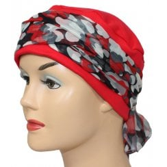Cosy Hat Red With Red Pebbles Chiffon Scarf