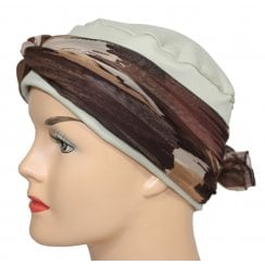 Cosy Hat Tan With Shades Of Brown Chiffon Scarf