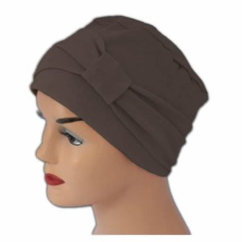 Cosy Hat With Band Brown 100% Cotton Jersey (2 Pieces)