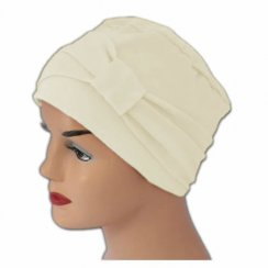 Cosy Hat With Band Cream 100% Cotton Jersey (2 Pieces)