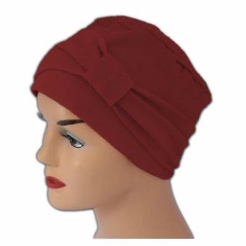 Cosy Hat With Band Vino Red 100% Cotton Jersey (2 Pieces)