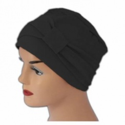 Cosy Hat With Band Black 100% Cotton Jersey (2 Pieces)