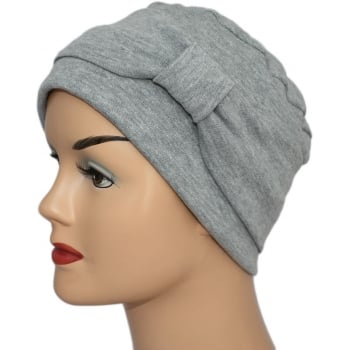 Cosy Hat With Band Marl Grey 100% Cotton Jersey (2 Pieces)