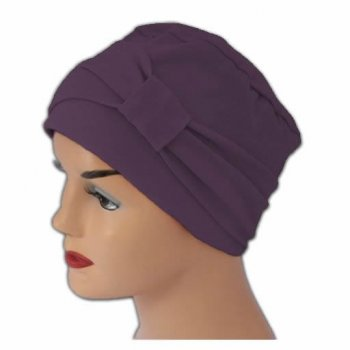Cosy Hat With Band Plum 100% Cotton Jersey (2 Pieces)