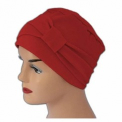 Cosy Hat With Band Red 100% Cotton Jersey (2 Pieces)