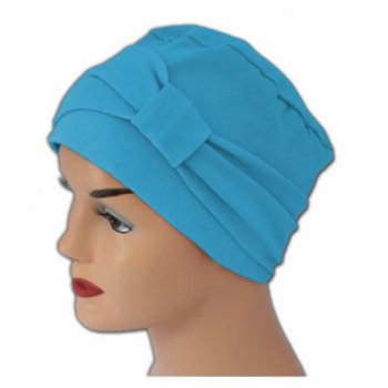Cosy Hat With Band Turquoise 100% Cotton Jersey (2 Pieces)