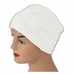 Cosy Hat With Band White 100% Cotton Jersey (2 Pieces)