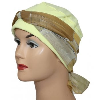 Cosy Hat Yellow With Shades of Tan Chiffon Scarf