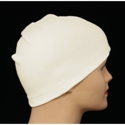 Cream 100% Cotton Jersey Head Cap