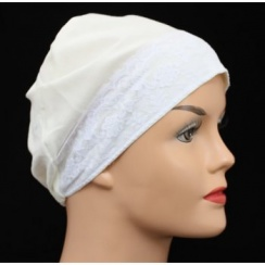 Cream Lace Sleep Cap Lightweight 100% Cotton Jersey