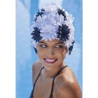 Daisy Petal Swim Cap Black And White