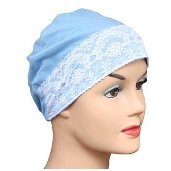 Denim Lace Sleep Cap Lightweight 100% Cotton Jersey