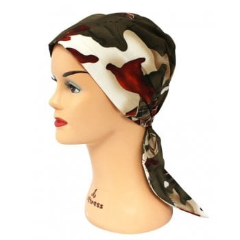Earth Kenya Padded Cotton Head Tie Scarf (Tan Green And Reds)