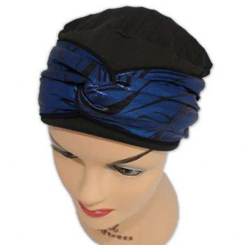 Elegant Black Hat With A Blue Metallic Print Twist Wrap