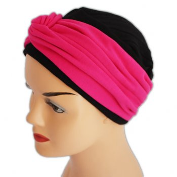 Elegant Black Hat With A Fuschia Twist Wrap