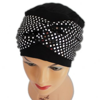 Elegant Black Hat With A Metallic Silver Sequin Twist Wrap