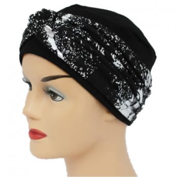 Elegant Black Hat With A Silver Splash Metallic Twist Wrap