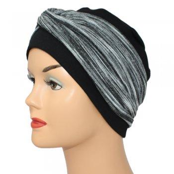 Elegant Black Turban Hat With A Black And Grey Twist Wrap