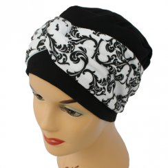Elegant Black Turban Hat With A Black And Silver Twist Wrap