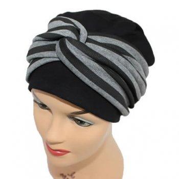Elegant Black Turban Hat With A Black Grey Twist Wrap