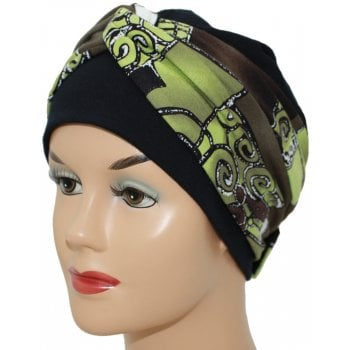Elegant Black Turban Hat With a Brown and Green Abstract Twist Wrap