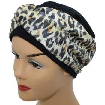 Elegant Black Turban Hat With a Leopard Velour Twist Wrap
