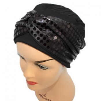 Elegant Black Turban Hat With A Metallic Black/Brown Sequin Twist Wrap