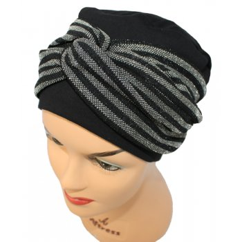 Elegant Black Turban Hat With A Metallic Black/Silver Twist Wrap