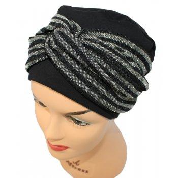Elegant Black Turban Hat With A Metallic Black/Silver Twist Wrap