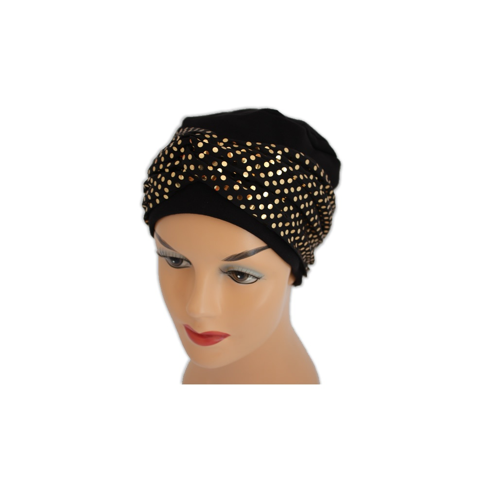 Elegant Black Turban Hat With A Metallic Gold Sequin Twist