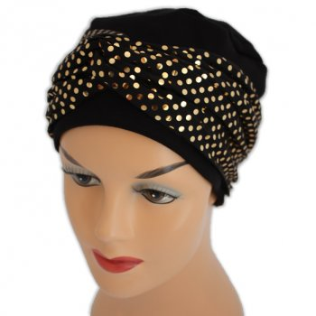 Elegant Black Turban Hat With A Metallic Gold Sequin Twist Wrap