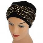 Elegant Black Turban Hat With A Metallic Gold Sequin Twist Wrap