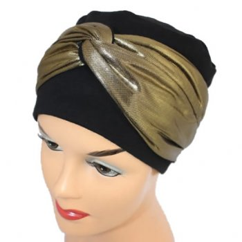 Elegant Black Turban Hat With A Metallic Gold Twist Wrap