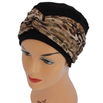 Elegant Black Turban Hat With A Metallic Leopard Print Twist Wrap