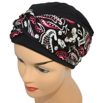 Elegant Black Turban Hat With A Paisley Fuschia/Black Twist Wrap