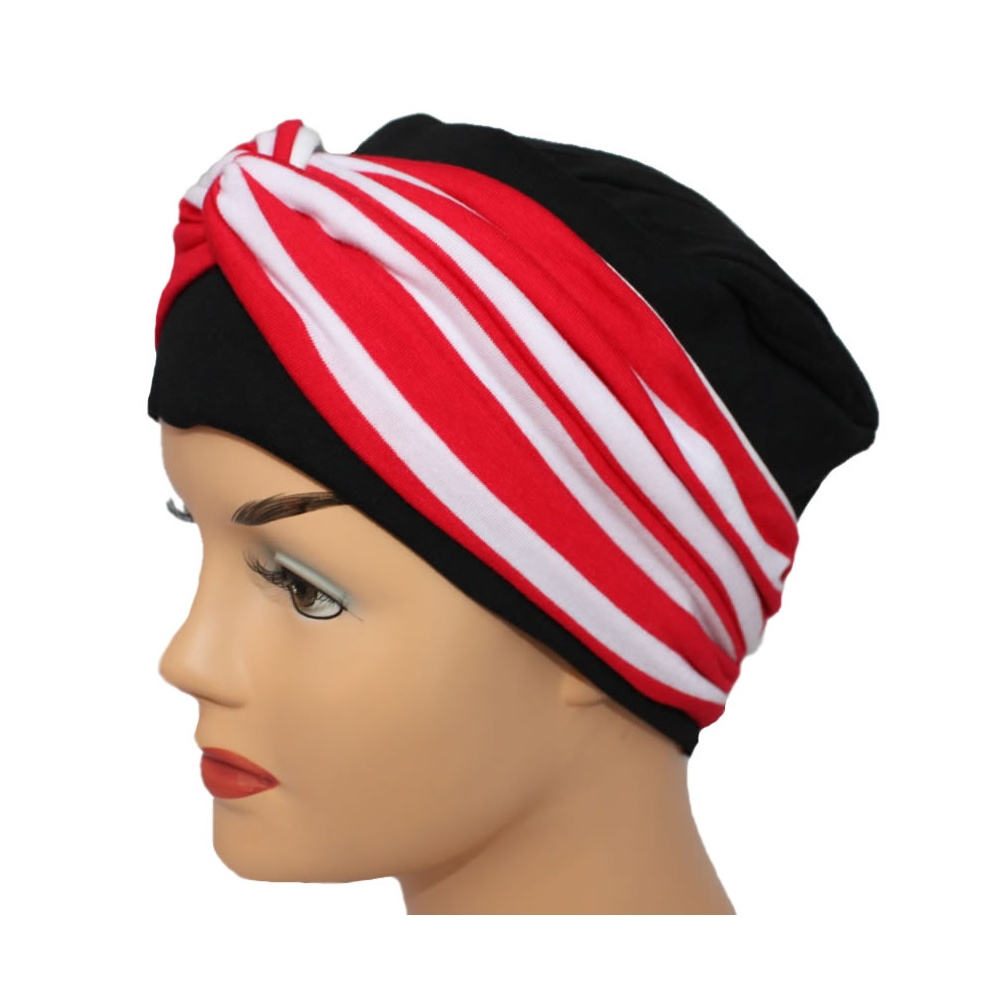 528b91f09025a8 Elegant Black Turban Hat With A Red Stripe Twist Wrap - Bohemia ...