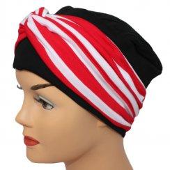 Elegant Black Turban Hat With A Red Stripe Twist Wrap