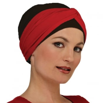 Elegant Black Turban Hat With A Red Twist Wrap
