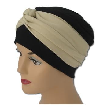 Elegant Black Turban Hat With A Tan Colour Twist Wrap