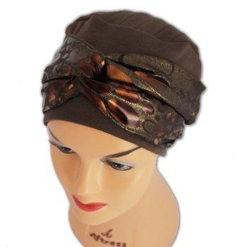 Elegant Brown Hat With A Metallic Animal Print Twist Wrap